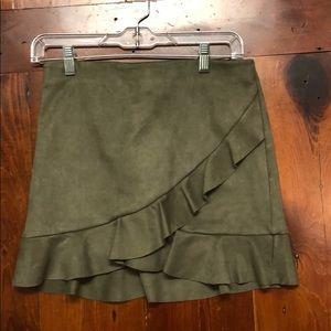 Green/grey ruffle skirt